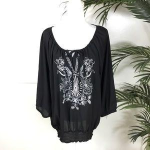 Lane Bryant Black Embroidered Sheer Top 18/20
